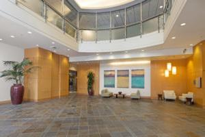 705 Union interior lobby with wood finishes